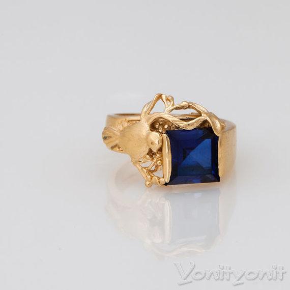 18k Yellow Gold Plating Ring Size 5 5 Blue Zircon Ring Women