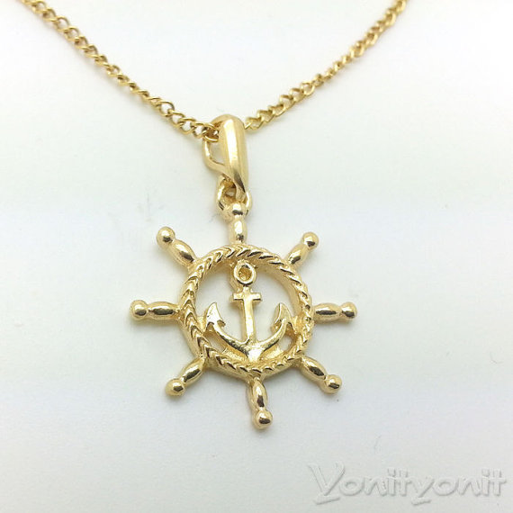 Anchor pendant 18k yellow gold plating pendant steering wheel men home aloadofball Images