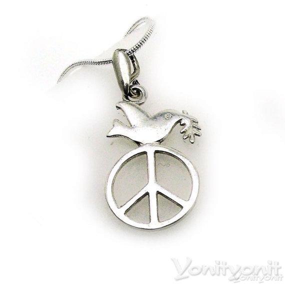 Silver Peace Symbol Necklace With Dove Silver Peace Pendant Peace