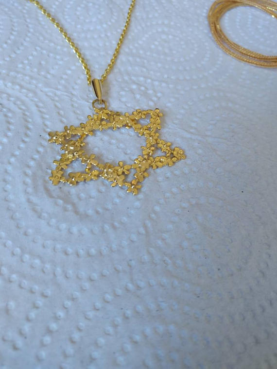Gold star of david necklaceflower pendant blessing necklace magen home shop jewelry necklaces gold star of david aloadofball Images